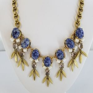 J. CREW Blue White Gold Tone Statement Necklace